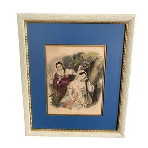Vintage print of two women with harp framed